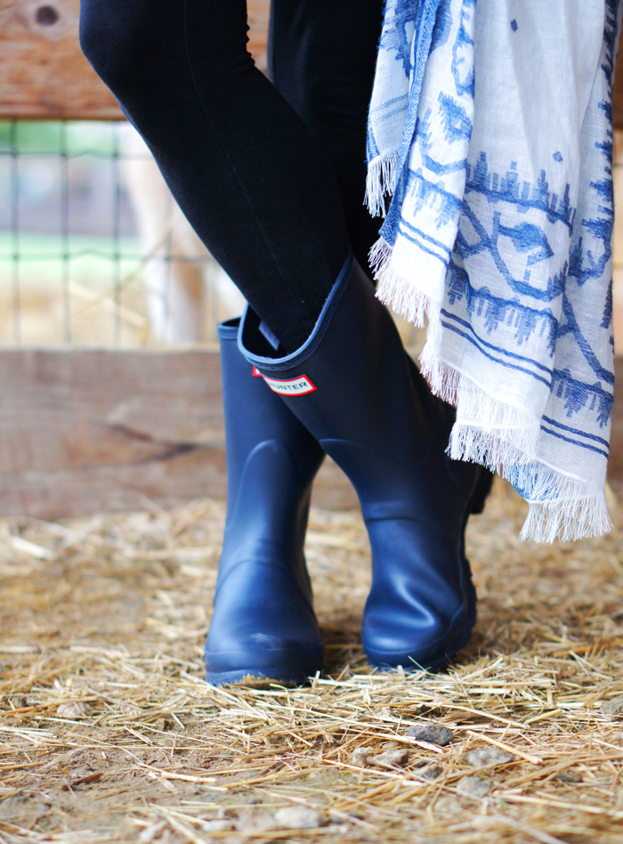 navy Hunter rain wellies