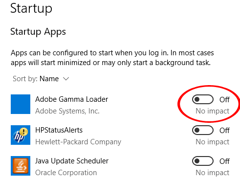 Disable Startup Programs in Windows 10 Settings