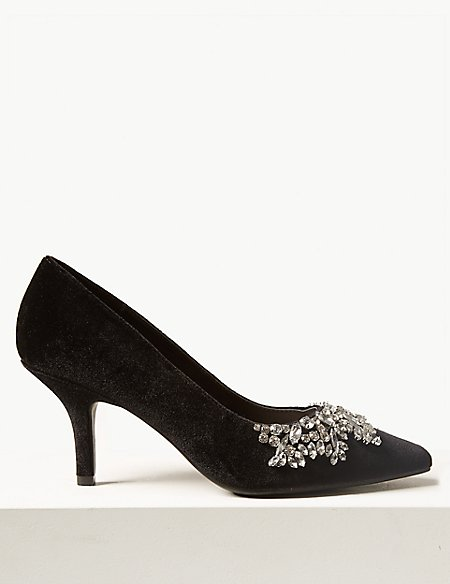 marks and spencer stiletto heel embellished court shoes