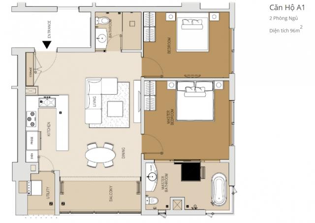 căn hộ 2 phòng ngủ tháp Brilliant dự án căn hộ Đảo Kim Cương