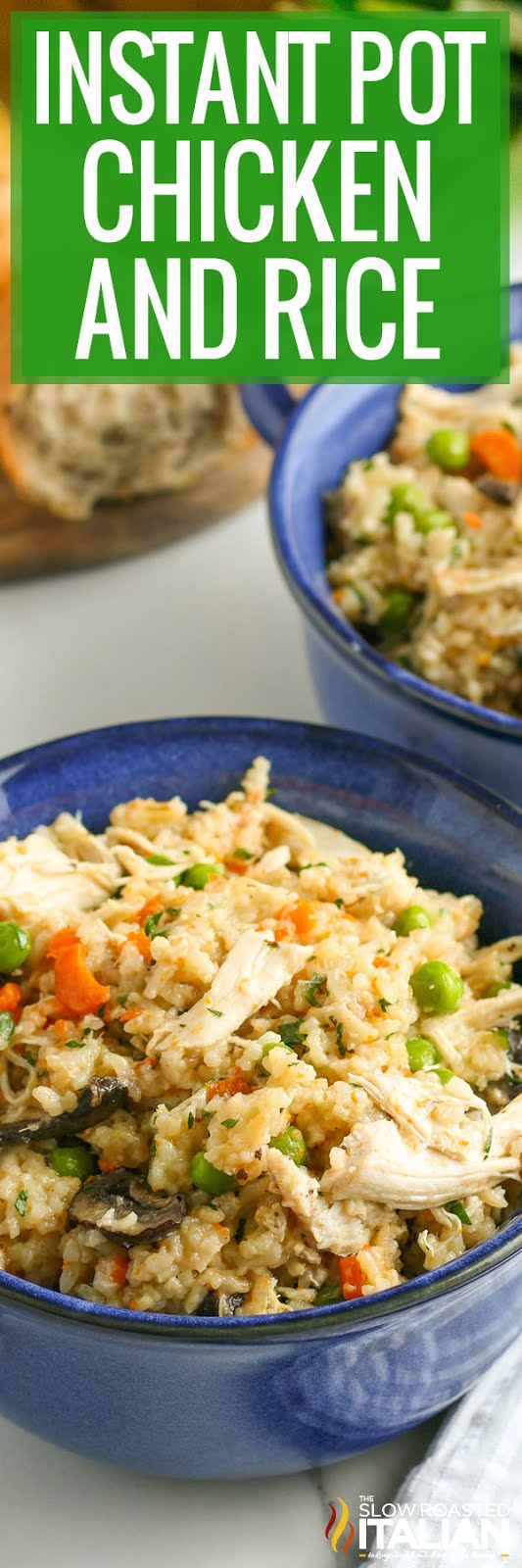 Instant Pot chicken and rice in bowls