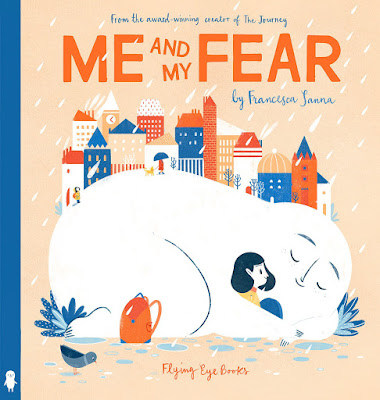 Though normally an abstract concept, fear becomes a concrete creature giving kids a tangible look at how a small amount of fear can be good and keep you from dangerous situations while large, growing fears can hold you back from the fun of everyday things. #MeAndMyFear #NetGalley #FlyingEyeBooks #ChildrensLit #PictureBook