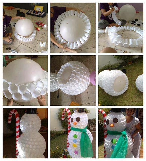 Imagenes Fantasia Y Color Lindo Muñeco De Nieve Hecho Con Vasos