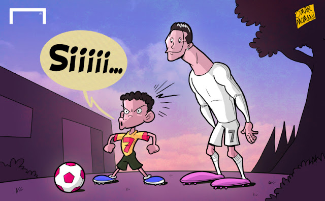 Cristiano Ronaldo and son cartoon caricature