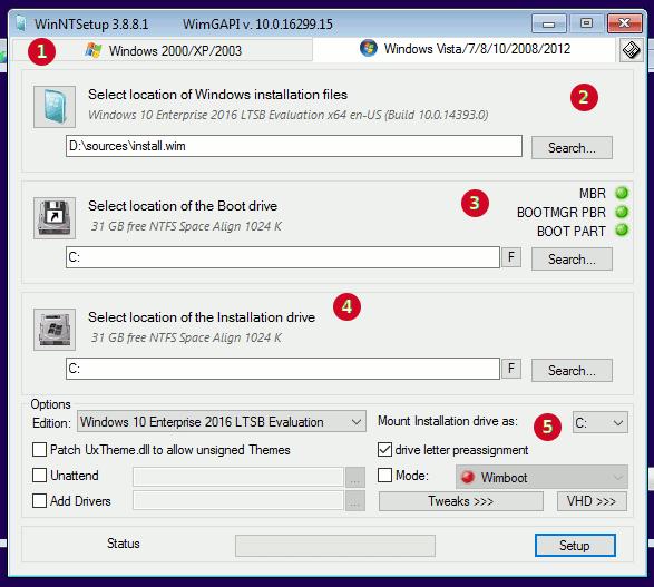 WinNTSetup3 main interface window explained in parts