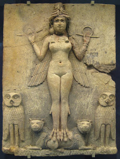 """The sacred, powerful and central Babylonian goddess Ishtar.   Her symbol was the star and she was associated with the planet Venus.  """" 'Burney Relief' ...from about 1800-1750 BC."""""""