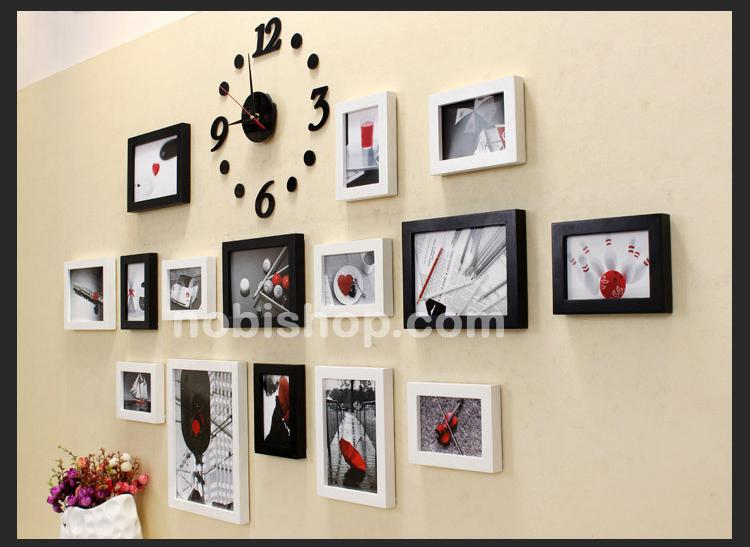 khung ảnh treo tường kết hợp đồng hồ treo tường