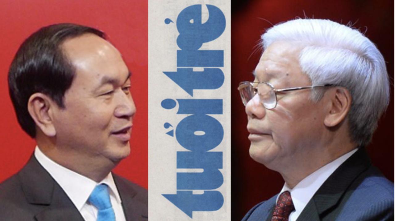 Ông Chủ tịch nước Trần Đại Quang và TBT Nguyễn Phú Trọng bất hòa qua vụ Tuổi Trẻ Online bị đình bản?. Ảnh: Twitter