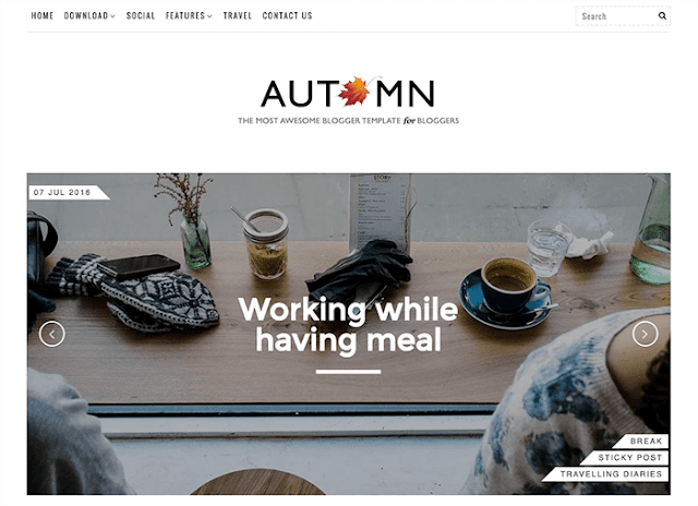 Autumn - бесплатный шаблон для Blogger 2016