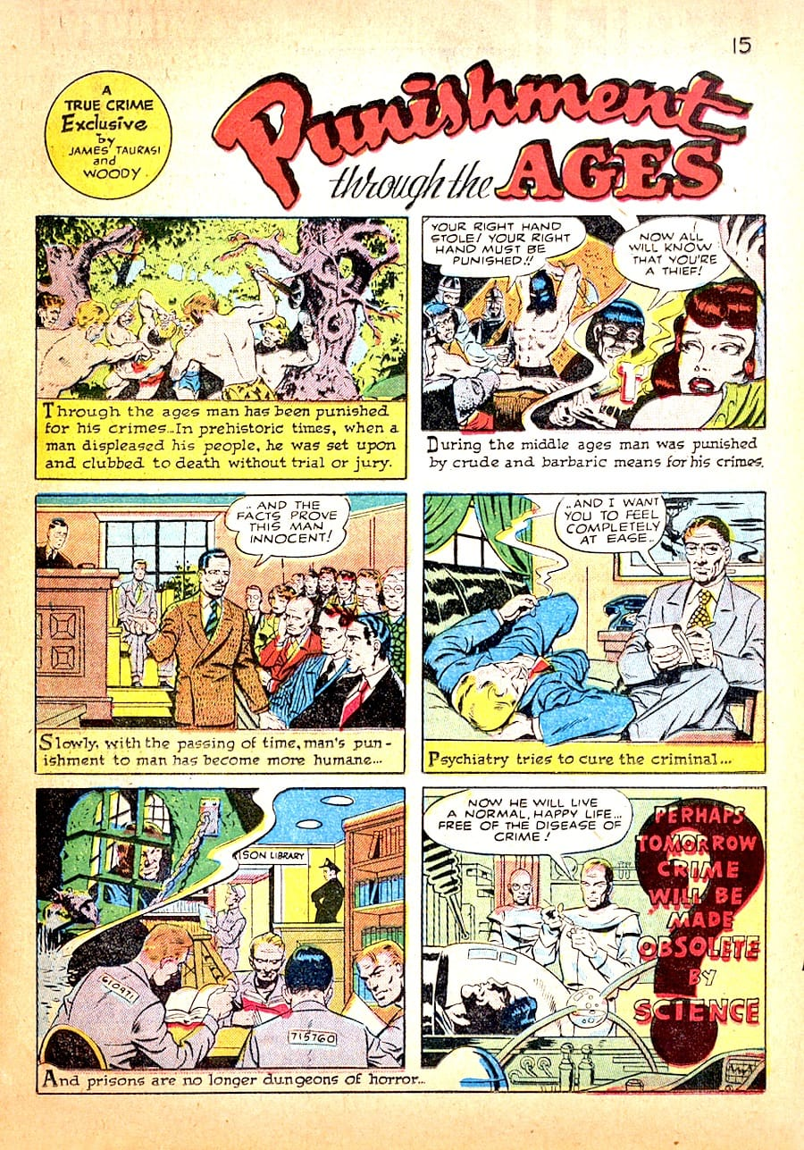 True Crime Comics #1 golden age 1940s comic book page by Wally Wood