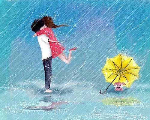 hình ảnh về tình yêu đẹp lãng mạn dễ thương, yêu nhau dưới mưa