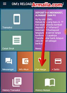 Langkah langkah Tembak Paket Nelpon Telkomsel 1000 dan 100 Menit All Operator  Masuk ke aplikasi om'z reload dan pilih menu cek harga