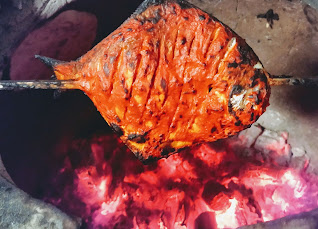 Pomfret cooking in Ovalclay Tandoor for Tandoori Pomfret Recipe