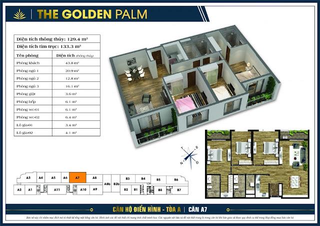 Thiết kế căn hộ A7 - tòa A chung cư THE GOLDEN PALM