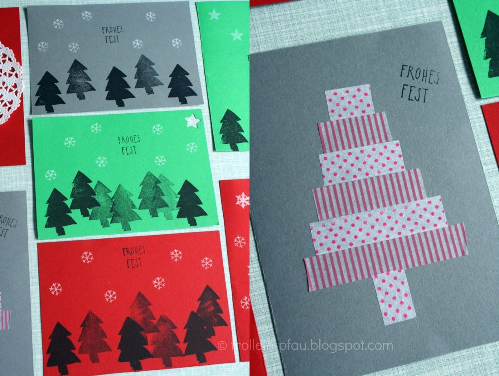 Frollein pfau weihnachtskarten selbstgemacht diy - Weihnachtskarten kreativ ...