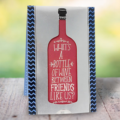 bottle of wine friendship day cards
