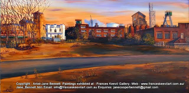 plein air oil painting of a panorama from the derelict Terminus Hotel to the CSR Distillery and half built Anzac Bridge in Pyrmont  by industrial heritage artist Jane Bennett