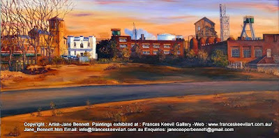 Plein air oil painting of the Terminus Hotel and Royal Pacific Hotel in  Pyrmont by industrial heritage artist Jane Bennett