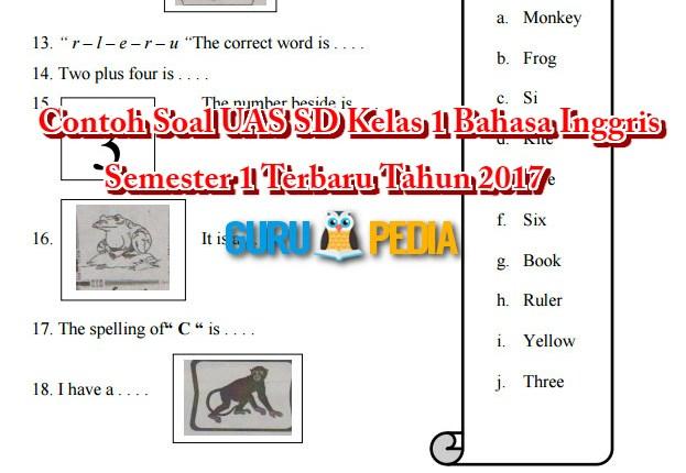 Contoh Soal UAS SD Kelas 1 Bahasa Inggris Semester 1 Terbaru Tahun 2017