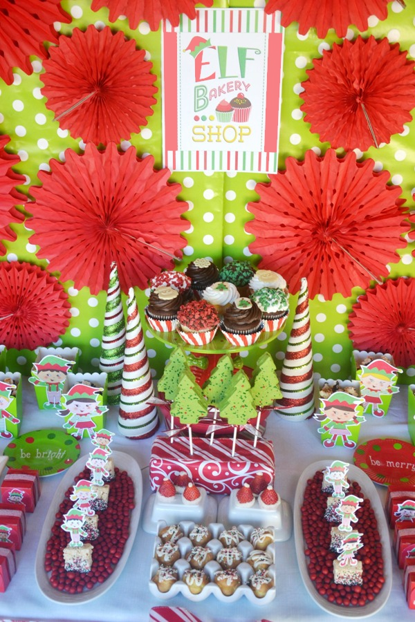 An Elf Bakery Shop and Cookie Decorating Christmas Party with Printables - BirdsParty.com