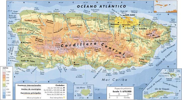 Cordillera La Nacional Central Yunque Puerto Parque El Rico Map El