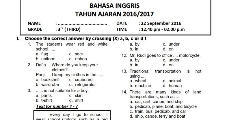 Download Soal Uts Ganjil Bahasa Inggris Kelas 3 Semester 1 2016 2017 Rief Awa
