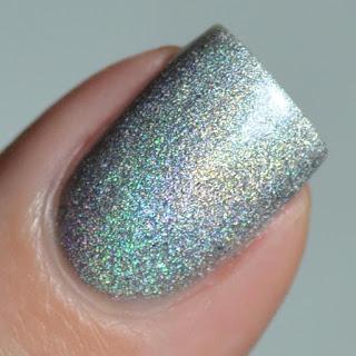 silver holographic nail polish