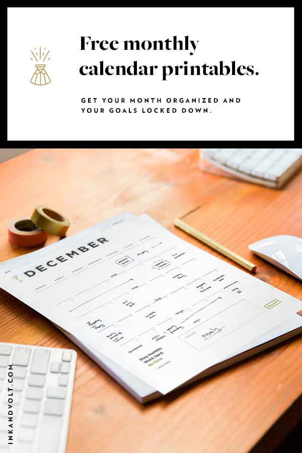 2017 calendar printables & goals planner