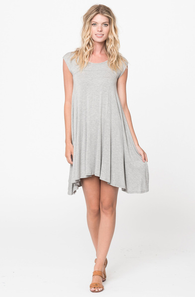 Buy Now heather grey Jersey Scoop Neck Cap Sleeve Dress Tunic Online -Final Sale- $20 -@caralase.com