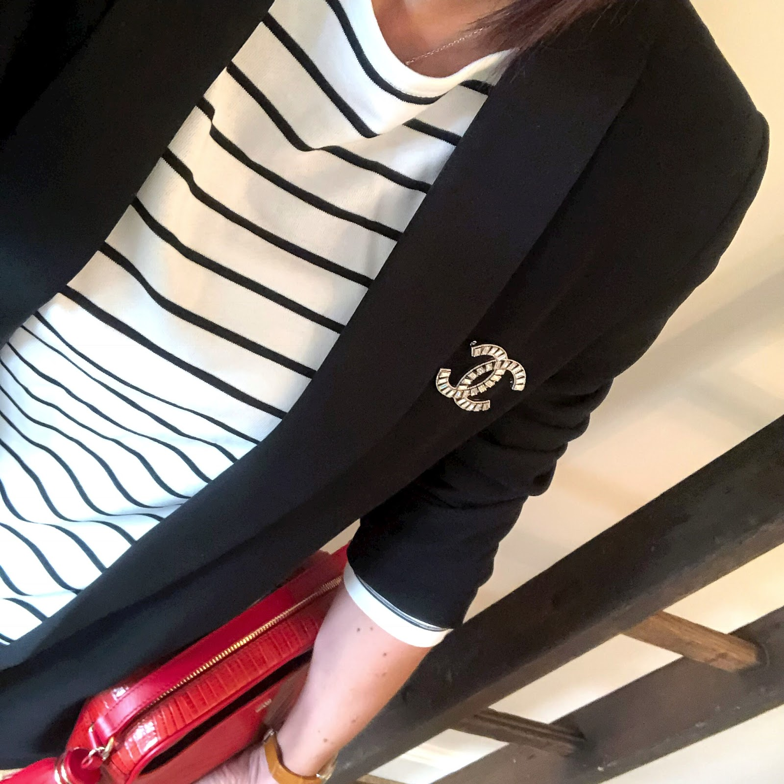 my midlife fashion, uterque mock croc cross body bag, h and m stripe breton long sleeve top, hush biker jeans, j crew bow pointed flats, fenn wright manson harper tuxedo jacket, chanel vintage brooch