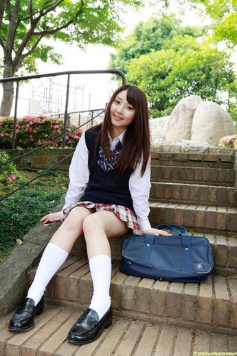 Yoshiko Suenaga Japanese Cute Idol Sexy Schoolgirl Uniform -1189