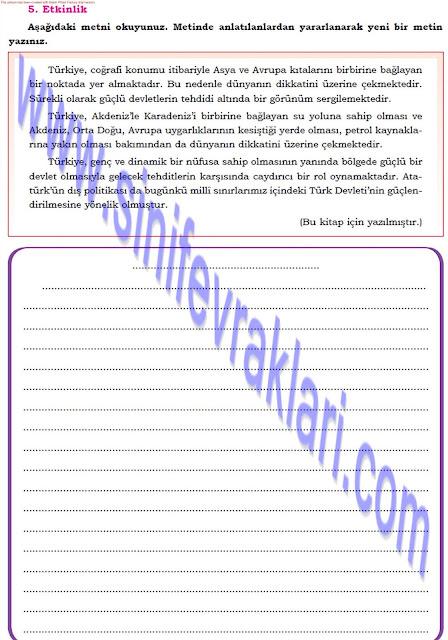 Dörtel Yayınları 8. Sınıf Türkçe Çalışma Kitabı Cevapları Sayfa 44