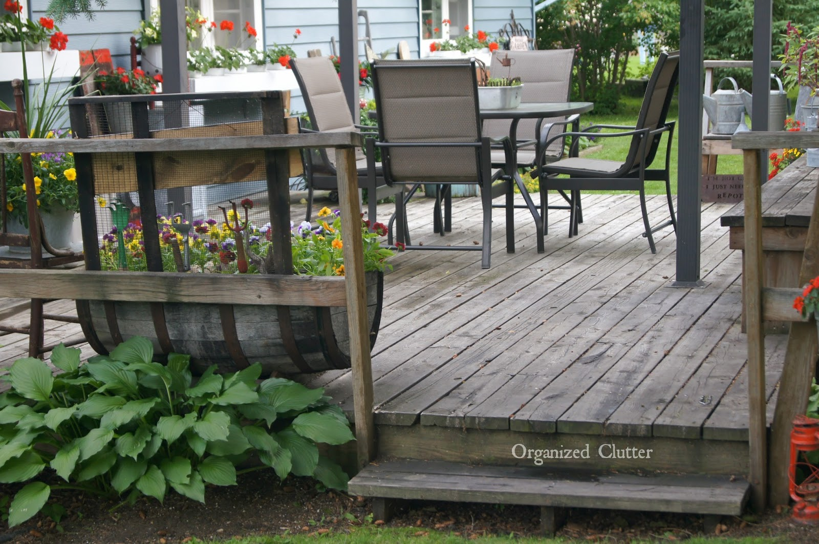 Weathered Wood Deck www.organizedclutterqueen.blogspot