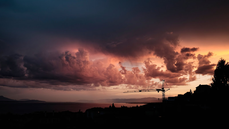 Crane and Sunset from Lausanne
