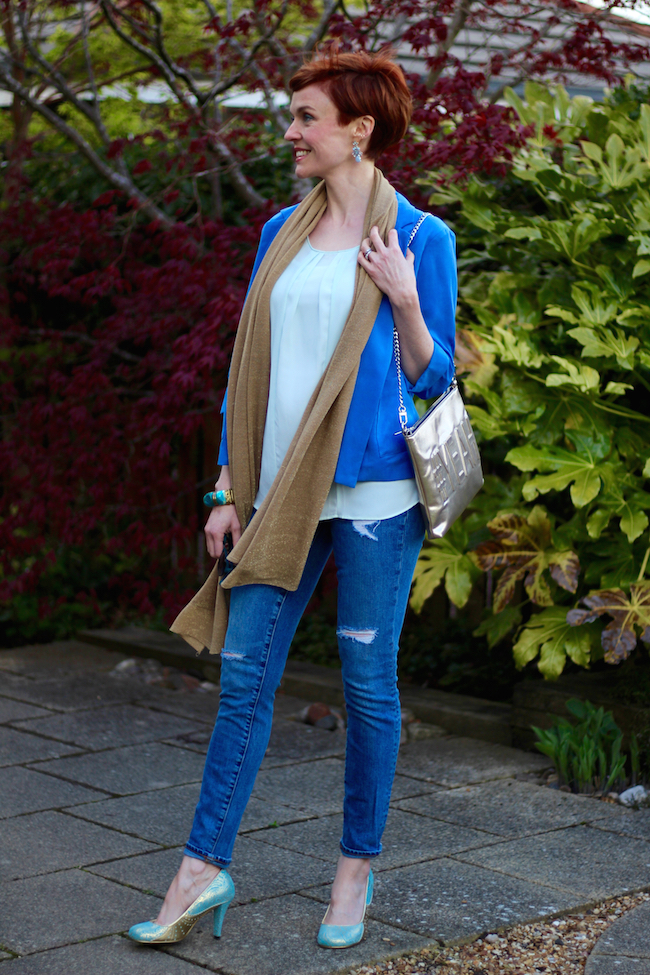 Fake Fabulous | Red Pixie cut | Blue monsoon blazer, Gap ripped jeans, gold accessories, irregular choice heels.