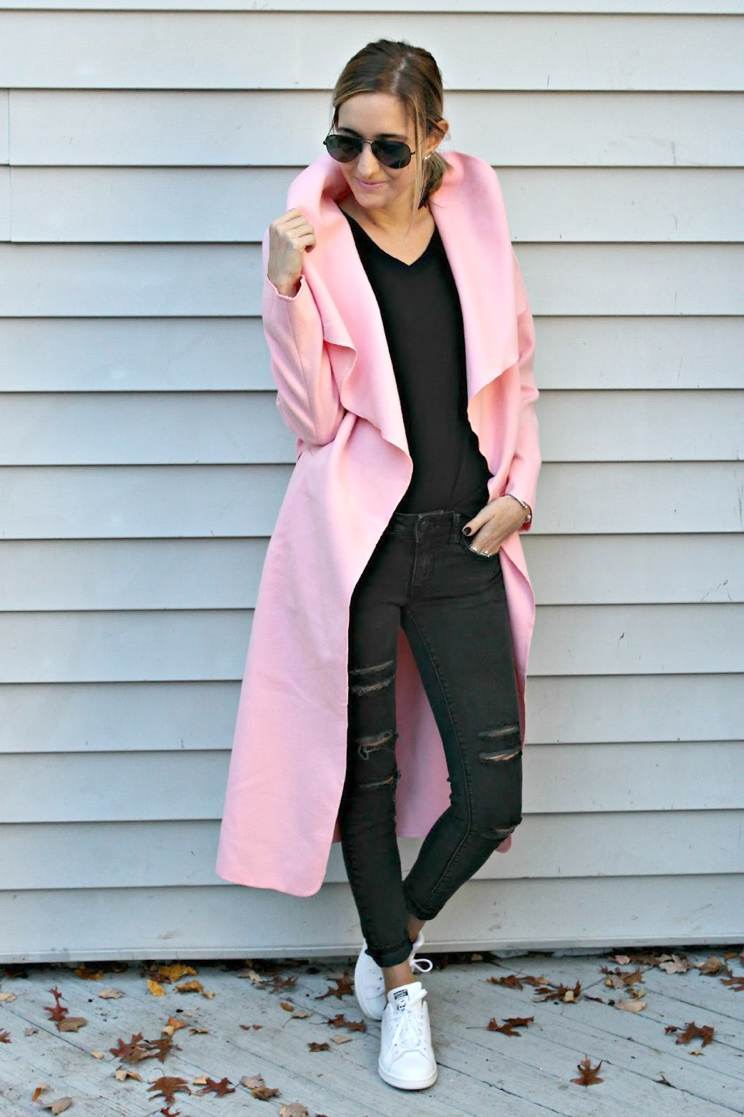shein long wrap coat
