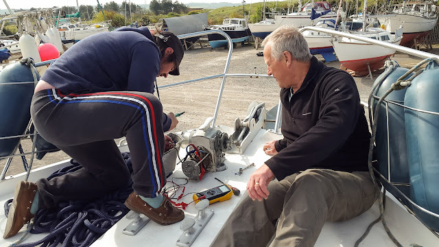 Photo of Chris and Phil working on the windlass