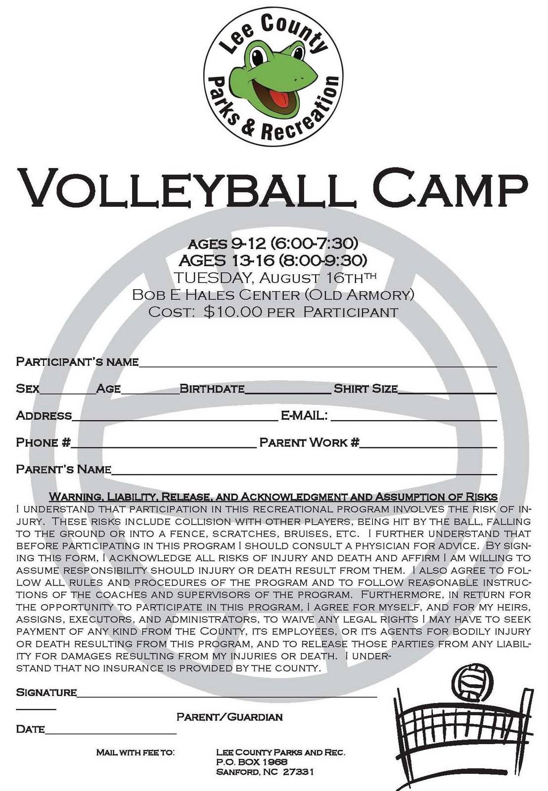 Lee County Government: Volleyball Camp Registration
