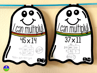 multiplication ghost math pennants for Halloween