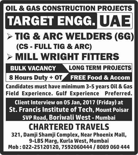 TIG & ARC Welders and Millwright Fitters Jobs in Target Engineering