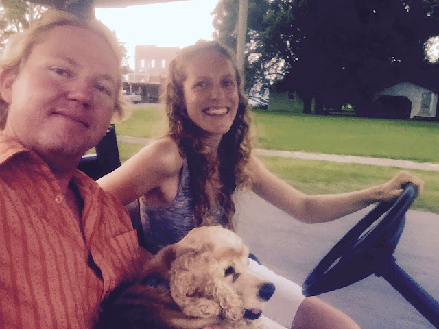 Driving a golf cart in Belhaven, NC