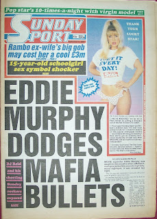 Front cover page of a vintage Sunday Sport newspaper from September 1987