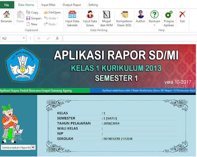 Aplikasi Rapot K13 SD Semester 1 Tahun Pelajaran 2018/2019