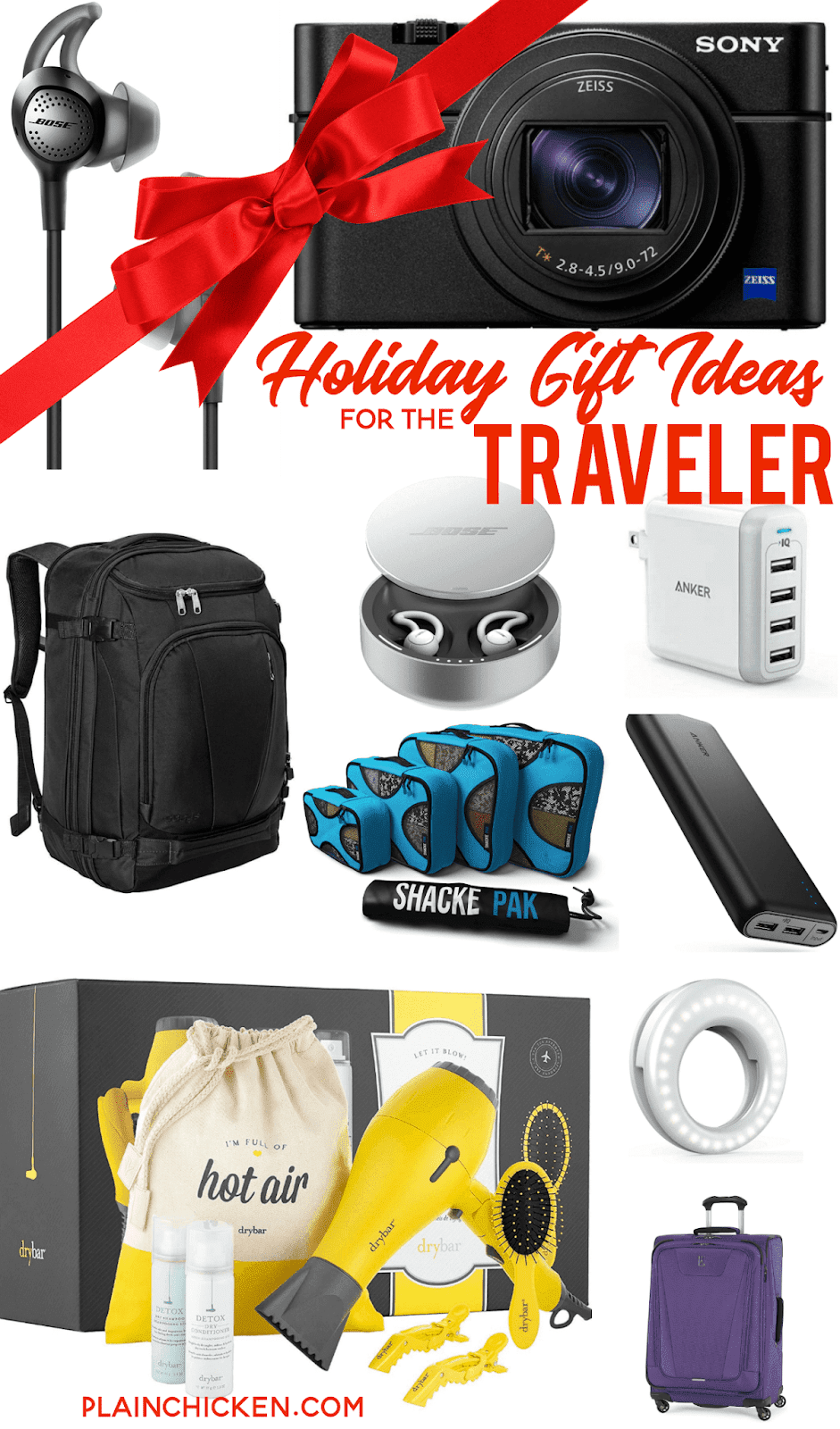 Holiday Gift Ideas for the Traveler - I never travel without all of these items! USB chargers, iPhone cords, the best travel purse, photography lights, the best travel camera, packing cubes, headphones and dual-voltage hair dryer!