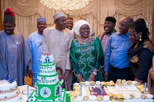 Buhari, birthday President, with wife Aisha, in group photo with some governors and ministers