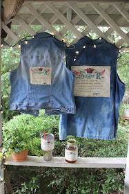 denim shirts, vest, and cup wraps