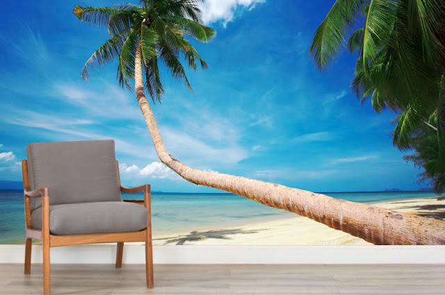 Tropiikki Rannat Tapetti Valokuvatapetti Meri Palmu