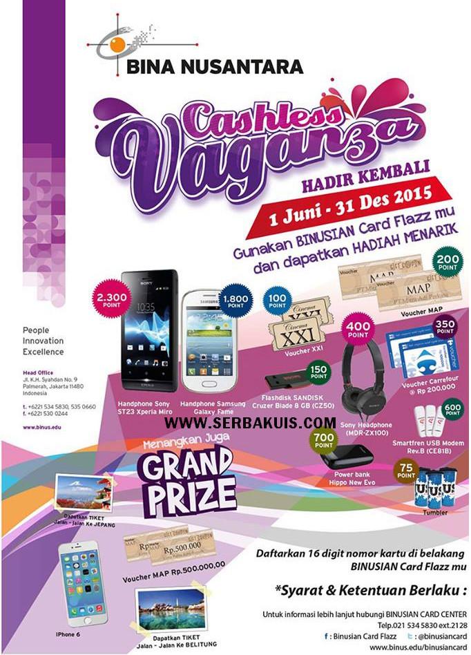 Promo Binus Cashless Vaganza 2015 Berhadiah iPhone 6