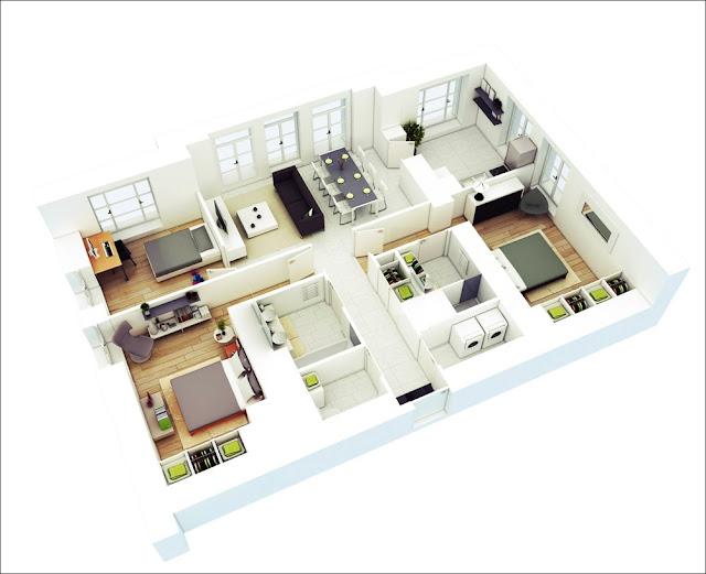 Planta de casa com 3 quartos bem distribuídos