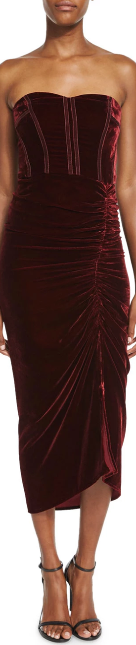 Veronica Beard Plaza Strapless Velvet Midi Dress, Wine